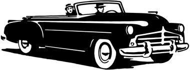 Illustration of men in black retro car