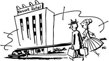 Illustration of couple walking in Hotel with text