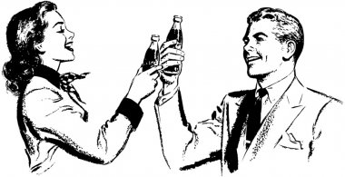 Illustration of happy Couple who Toasting