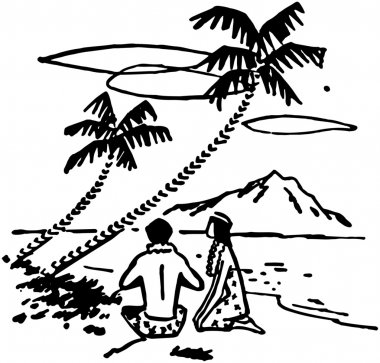 illustration of Couple Under Palm Trees