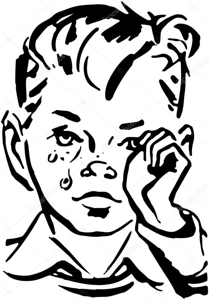 Ilustración vintage de niño llorando — Archivo Imágenes Vectoriales ...