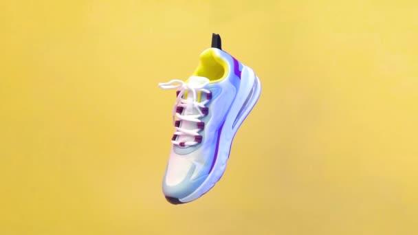 Spinning sportovní obuv koncept, bílé boty se směsí barevných linií. Rotace sportovní obuvi izolované na žlutém pozadí. Modré a červené světlo ze strany boty. ilustrace sportovní obuvi