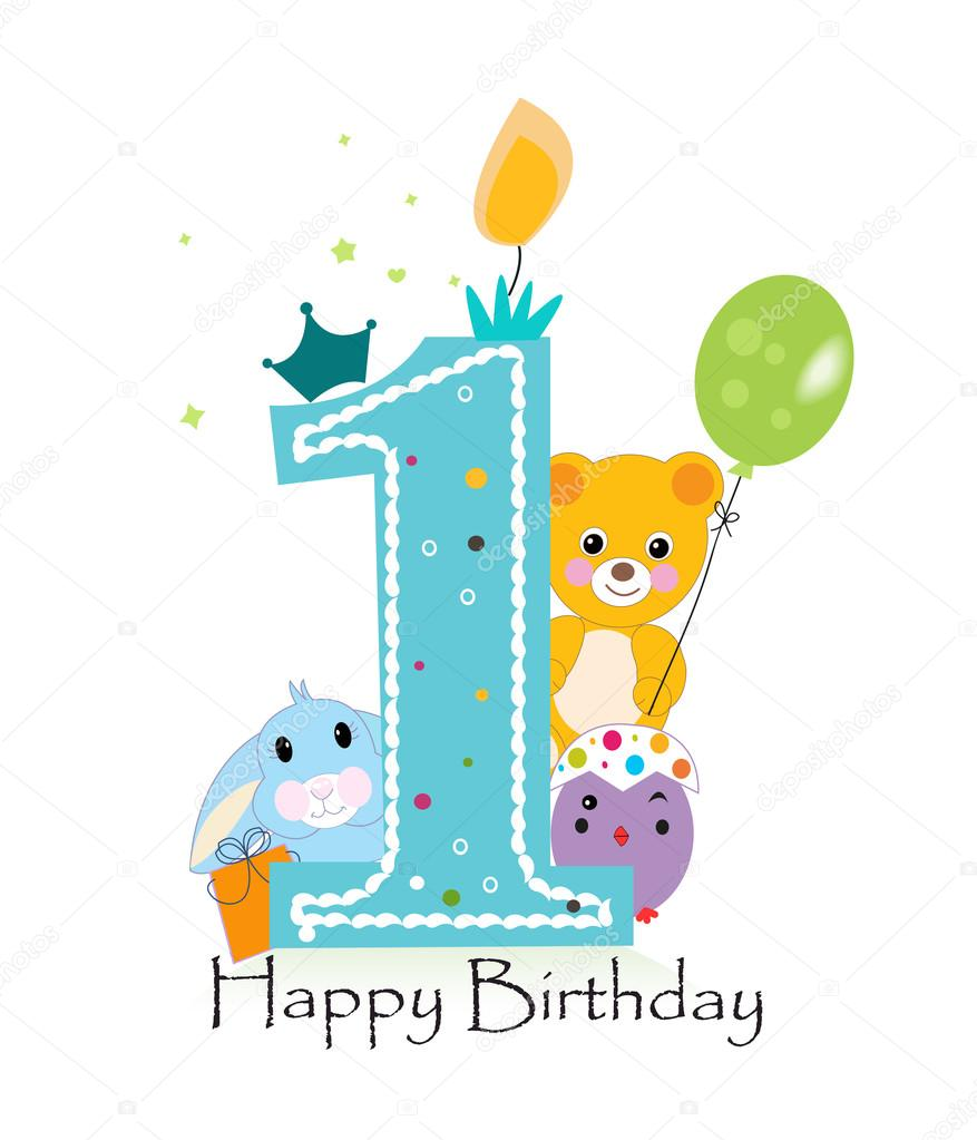Happy First Birthday Candle Baby Boy Greeting Card With Bunny