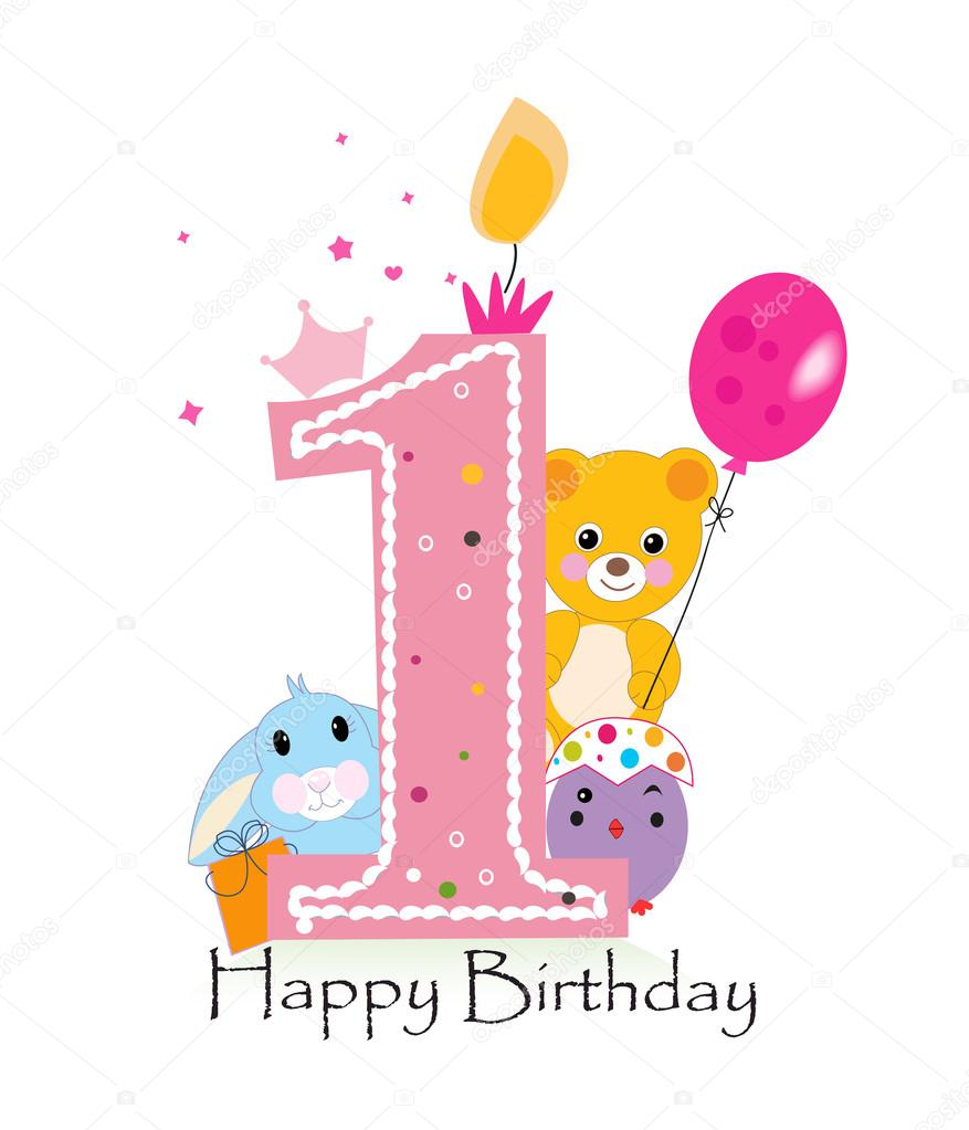 Happy first birthday candle baby girl greeting card with bunny happy first birthday candle baby girl greeting card with bunny chick and teddy bear kristyandbryce Gallery