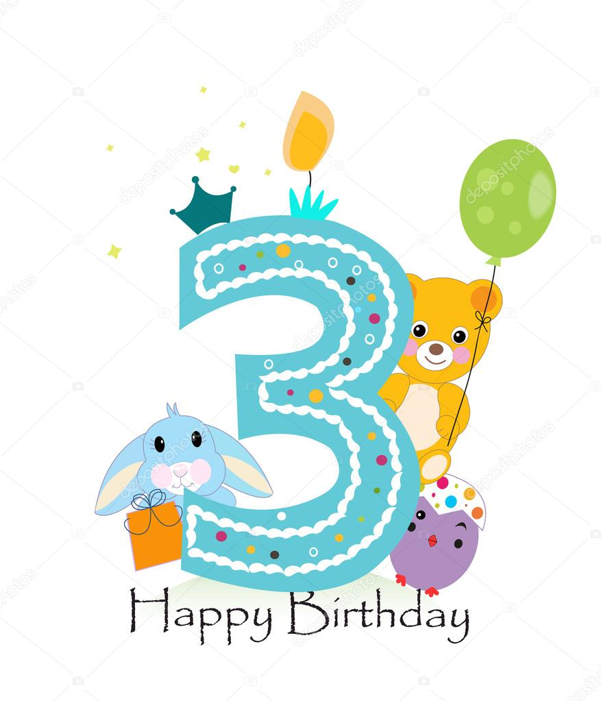 Happy Third Birthday Candle Baby Boy Greeting Card With Bunny