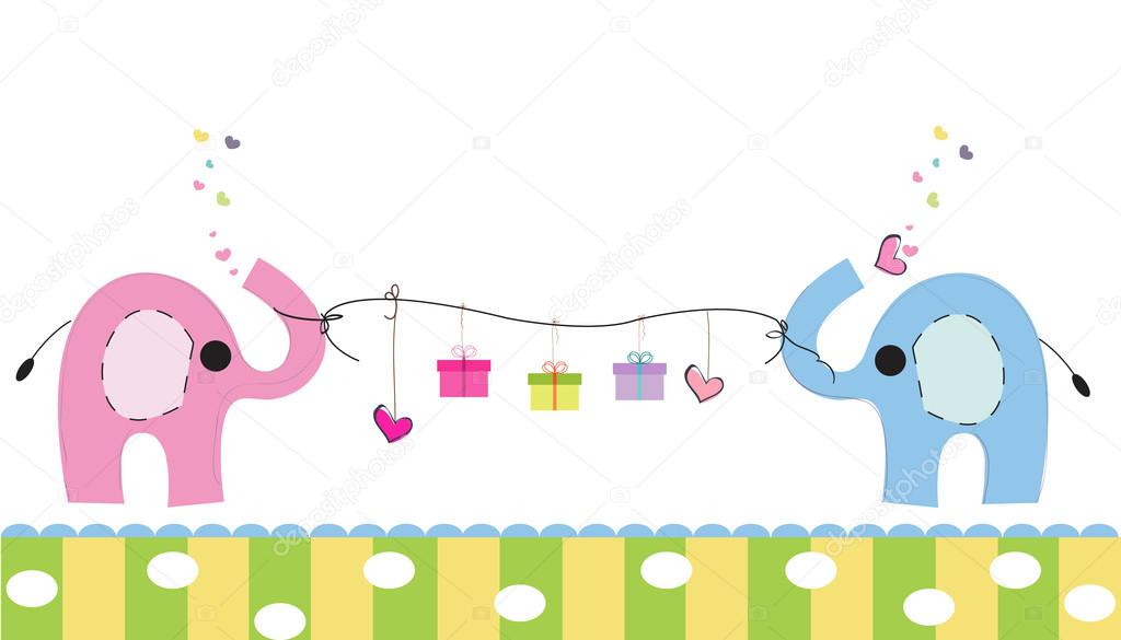 Cute Elephants With Gift Box Vector Background Happy Birthday Greeting Card Stockillustration