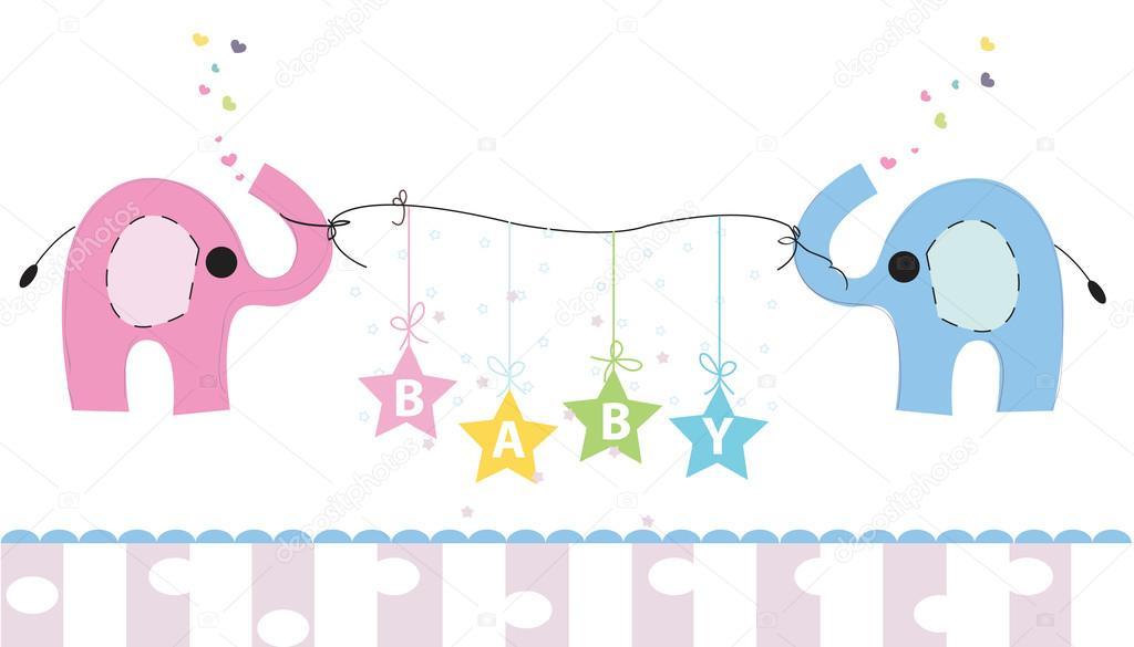 cute elephants baby shower greeting card newborn baby vector
