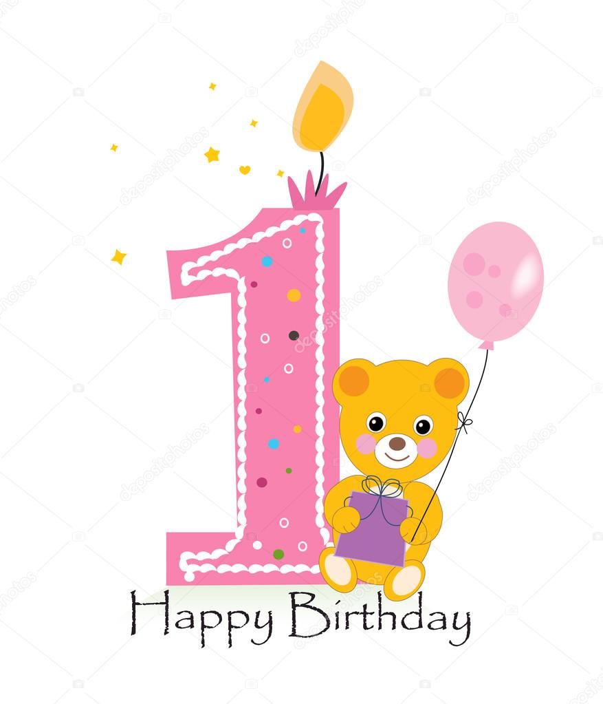 First Birthday Candle With Animals Stock Photo: Felice Primo Compleanno Candela. Auguri Di Compleanno Del
