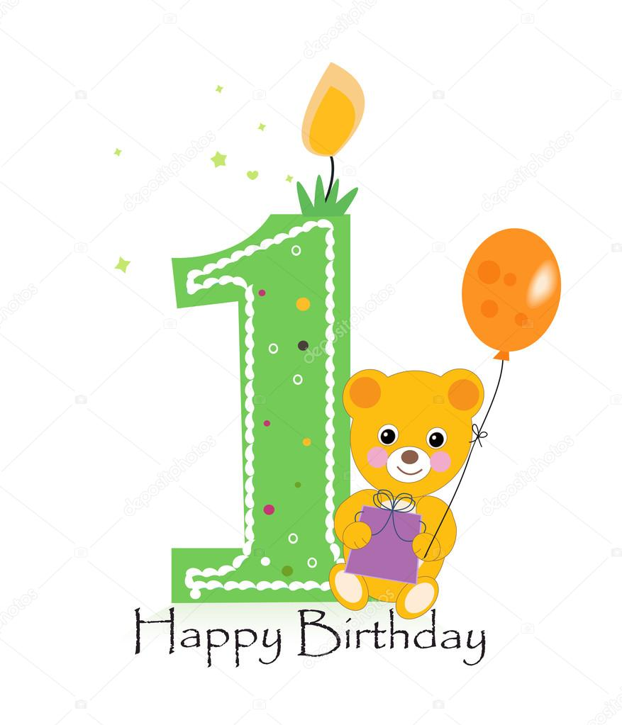 Happy first birthday candle baby birthday greeting card with teddy happy first birthday candle baby birthday greeting card with teddy bear vector stock vector m4hsunfo