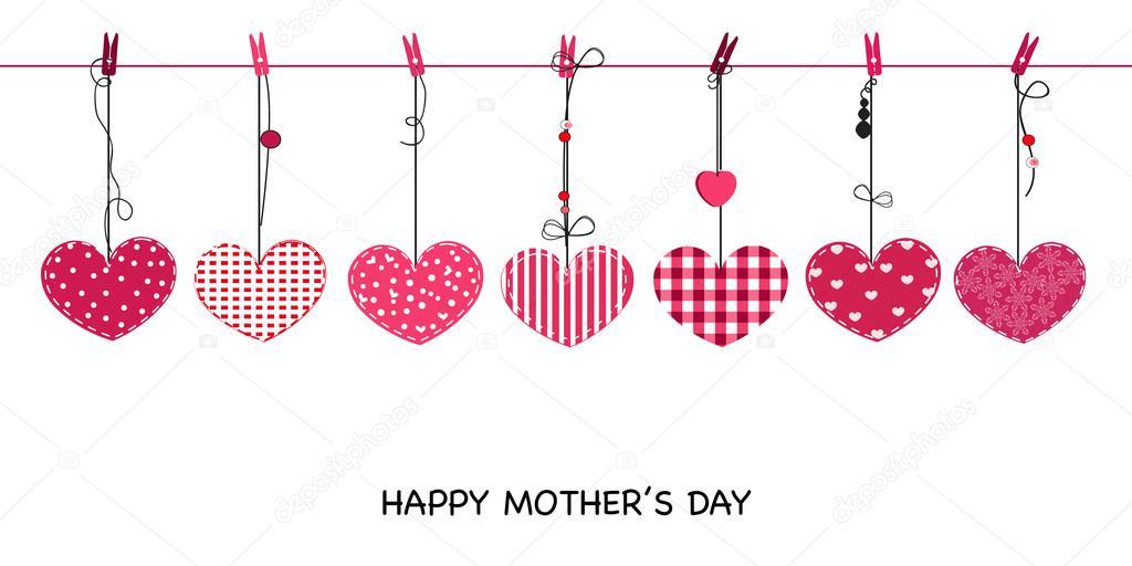 Feliz Día De La Madre Tarjeta Con Colgantes De Corazones De San