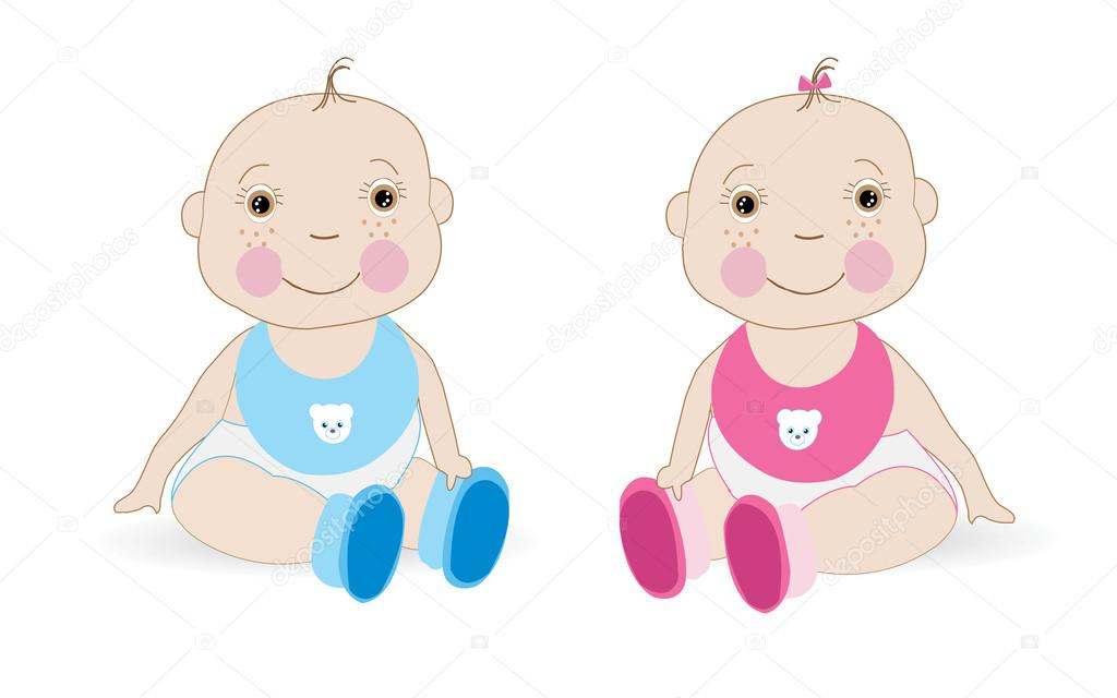Cute Baby Girl Baby Boy Twin Baby Vector Stock Vector