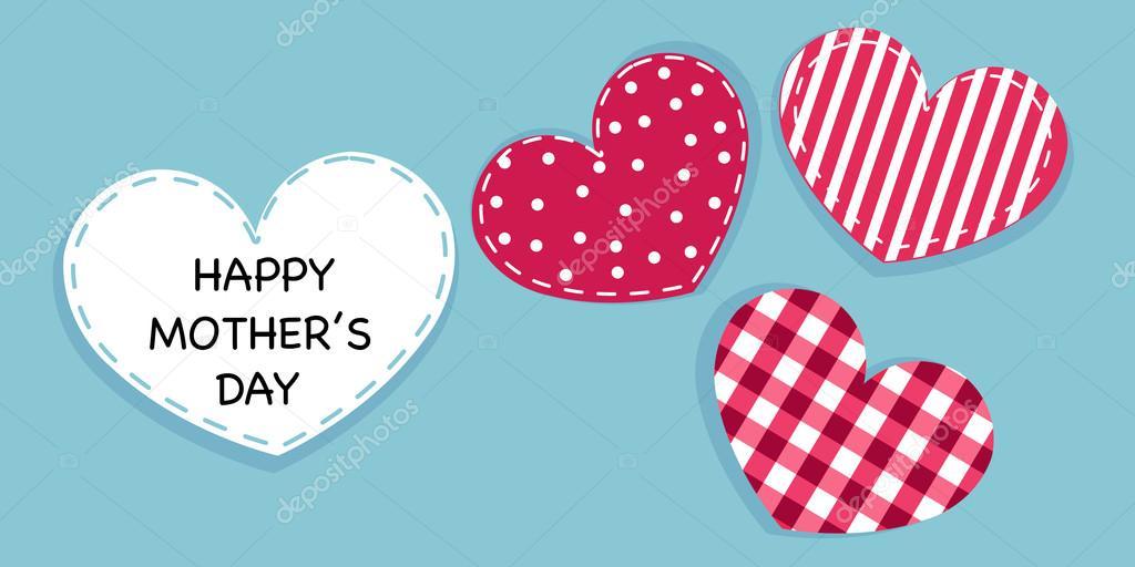 Feliz Día De La Madre Tarjeta Amor San Valentín Corazones Vector