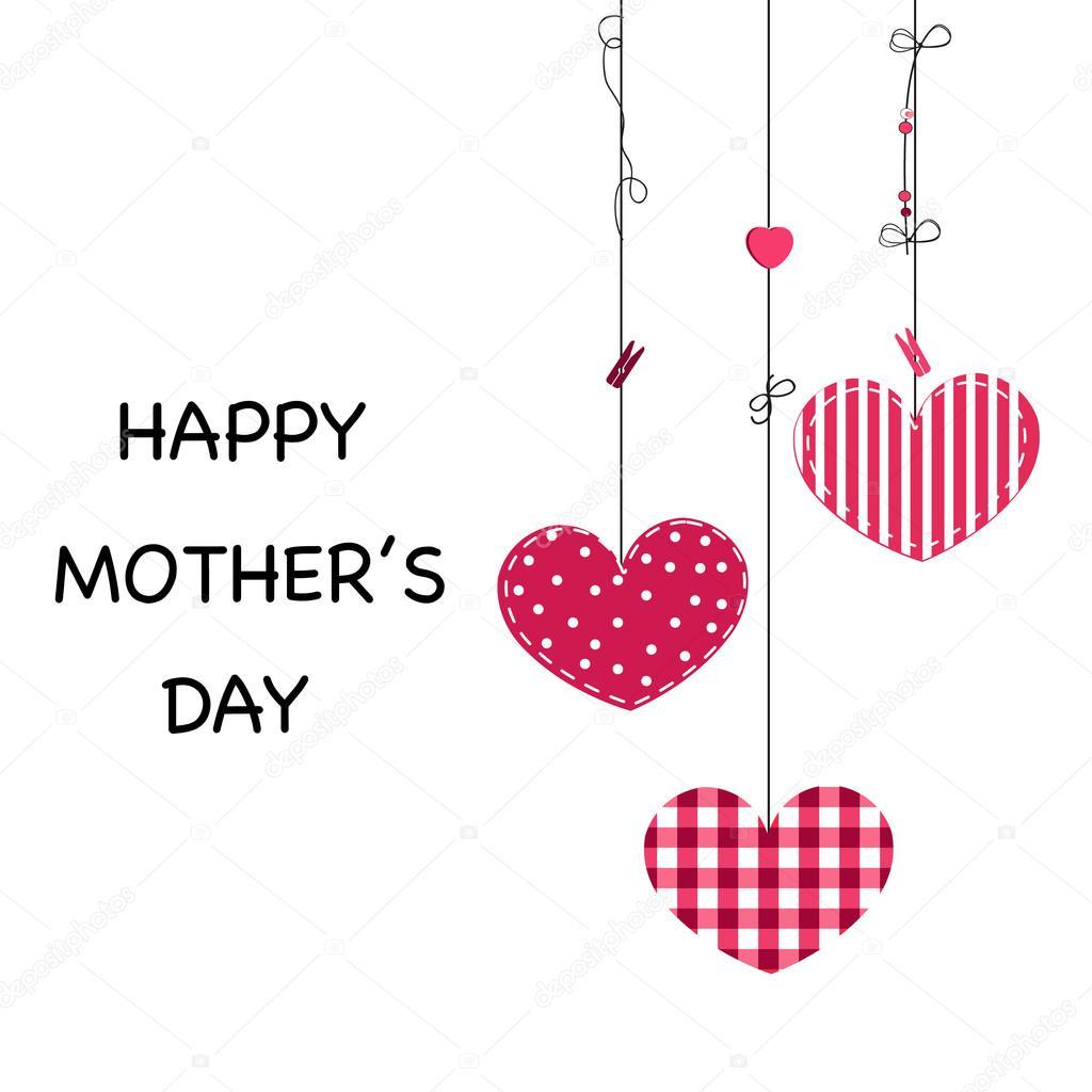 Glückliche Mutter Tag Grußkarte. Hängenden hübsch Valentin Herzen ...