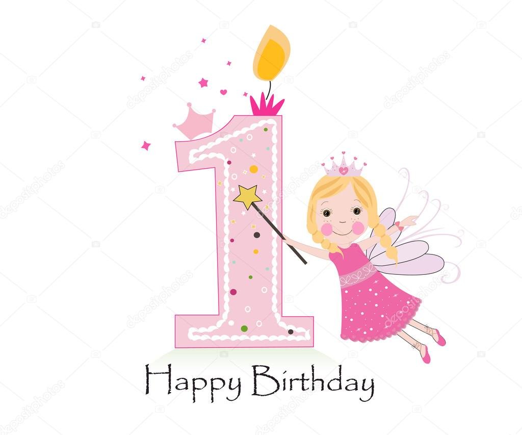 Happy first birthday candle baby girl greeting card with fairy happy first birthday candle baby girl greeting card with fairy tale vector bcakground stock kristyandbryce Gallery