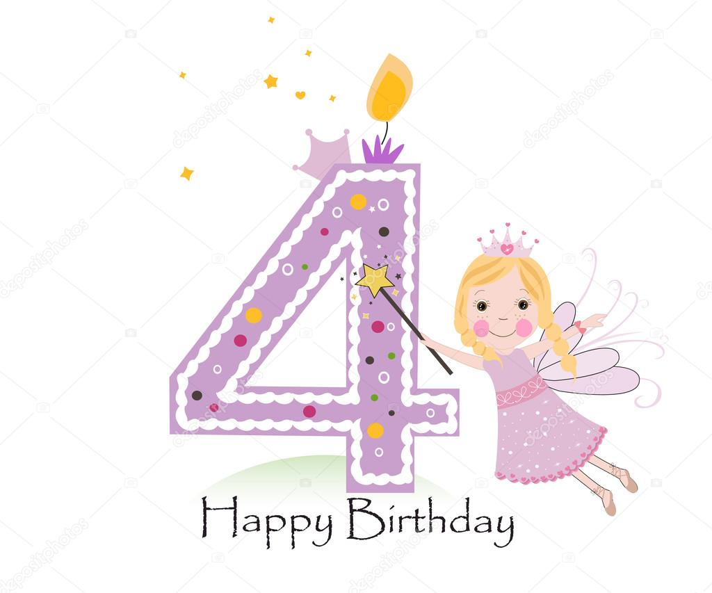 Happy fourth birthday candle baby girl greeting card with fairy happy fourth birthday candle baby girl greeting card with fairy tale vector background stock kristyandbryce Gallery