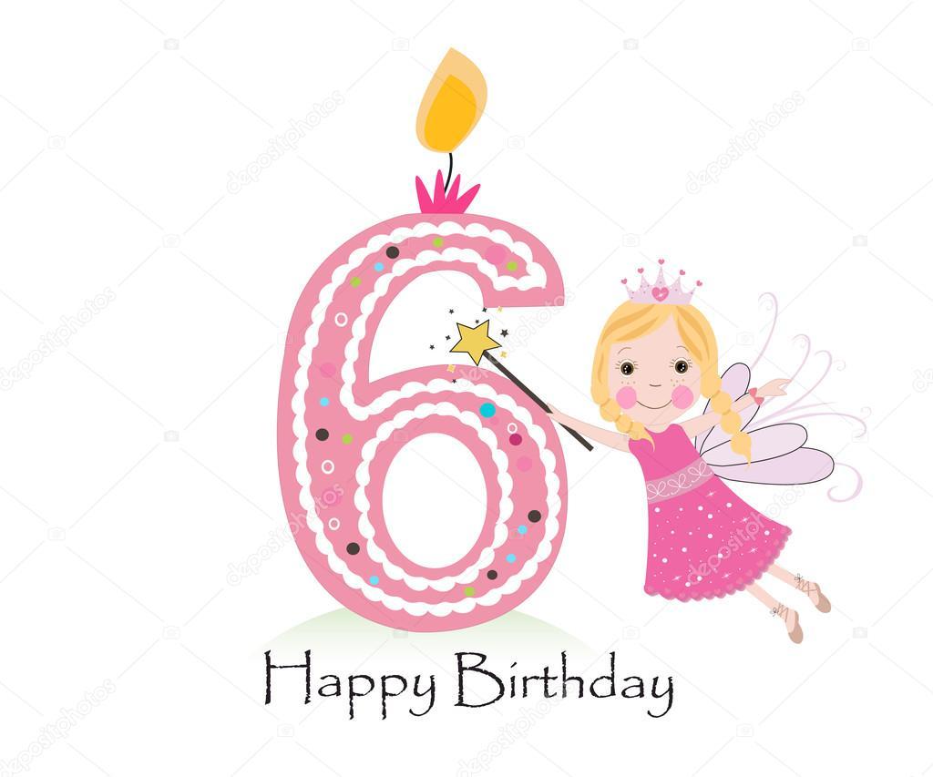 Feliz Aniversário De 6 Anos De Vela. Bebê Menina Cartão