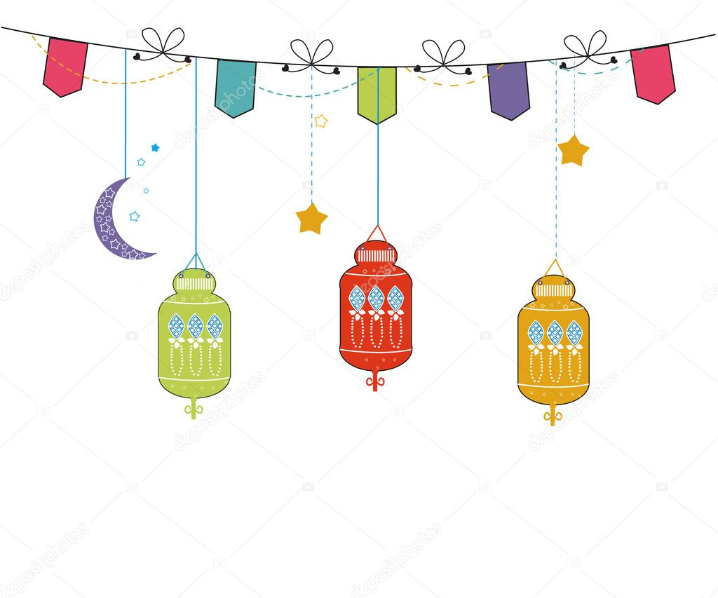 Download - Ramadan Kareem with colorful Lamps, Crescents and Stars ...