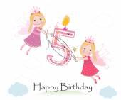 Happy páté narozeniny s roztomilé pohádky přání vektor