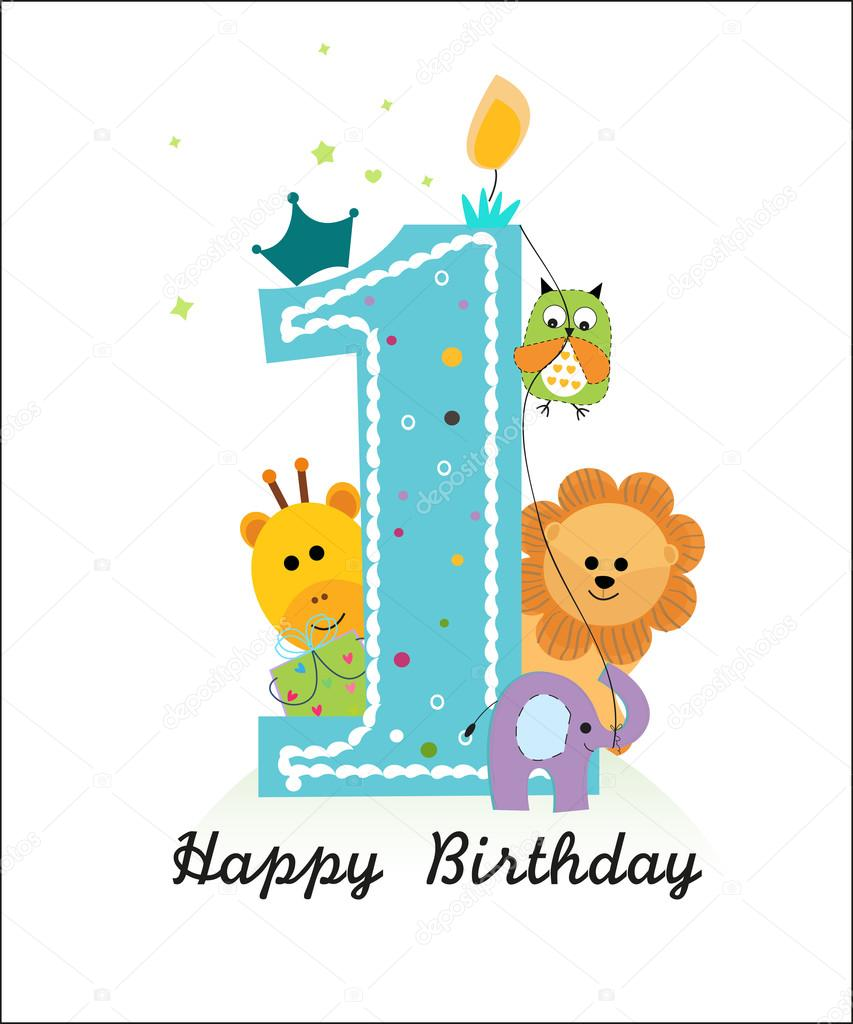 Happy 1st Birthday Boy.Happy First Birthday With Animals Baby Boy Greeting Card
