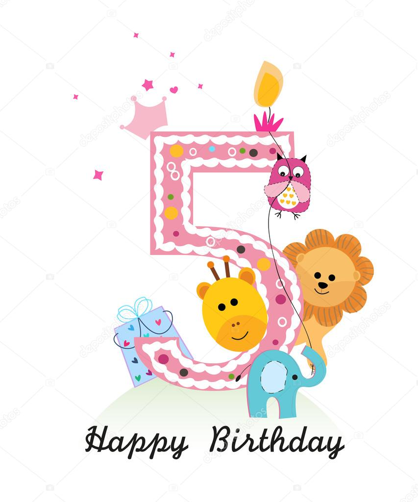Happy Fifth Birthday With Animals Baby Girl Greeting Card Vector
