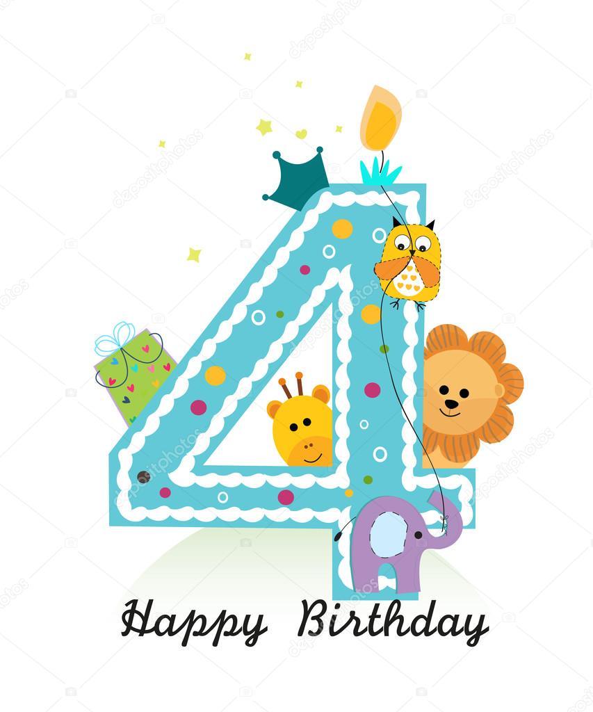 Happy Fourth Birthday With Animals Baby Boy Greeting Card Vector