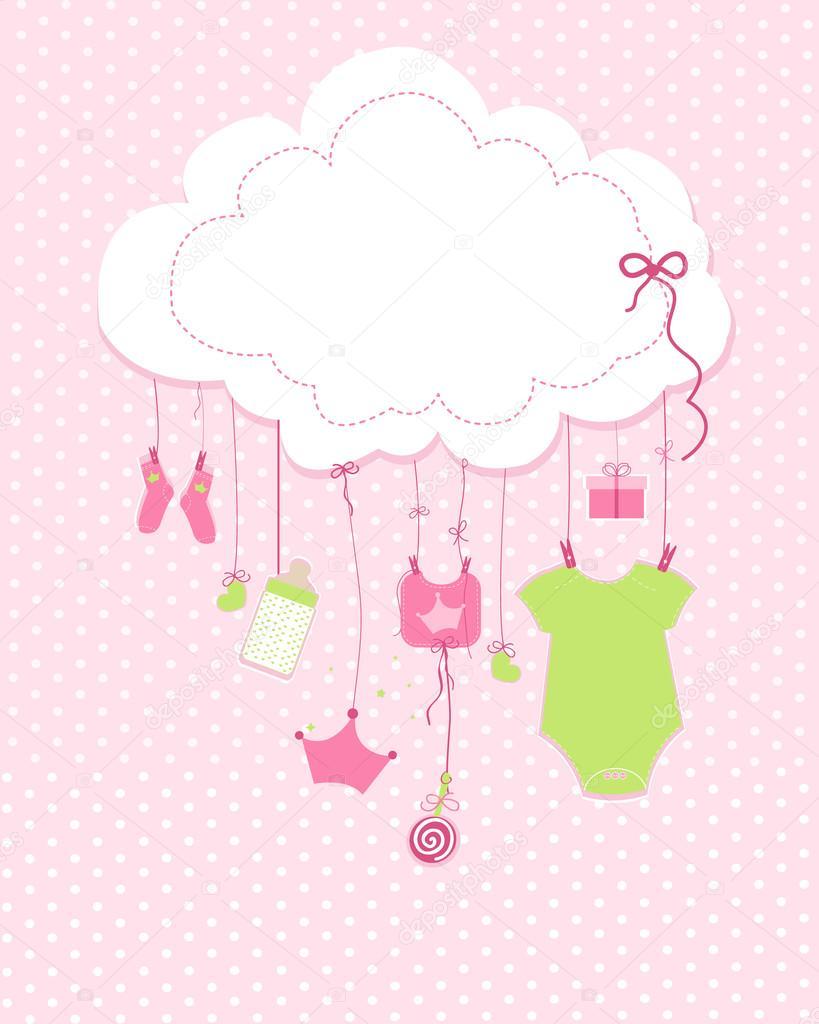 Baby Arrival Greeting Card Baby Shower Invitation Newborn Baby Girl