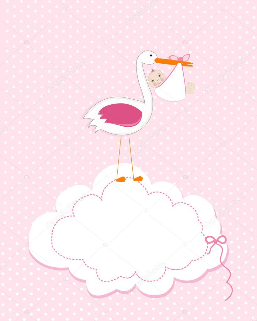 Baby girl with stork baby arrival greeting card baby shower baby girl with stork baby arrival greeting card baby shower invitation newborn baby illustration filmwisefo