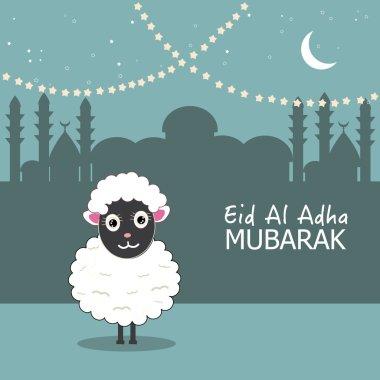 Sheep vector illustration. Islamic festival of sacrifice, eid al adha celebration greeting card vector