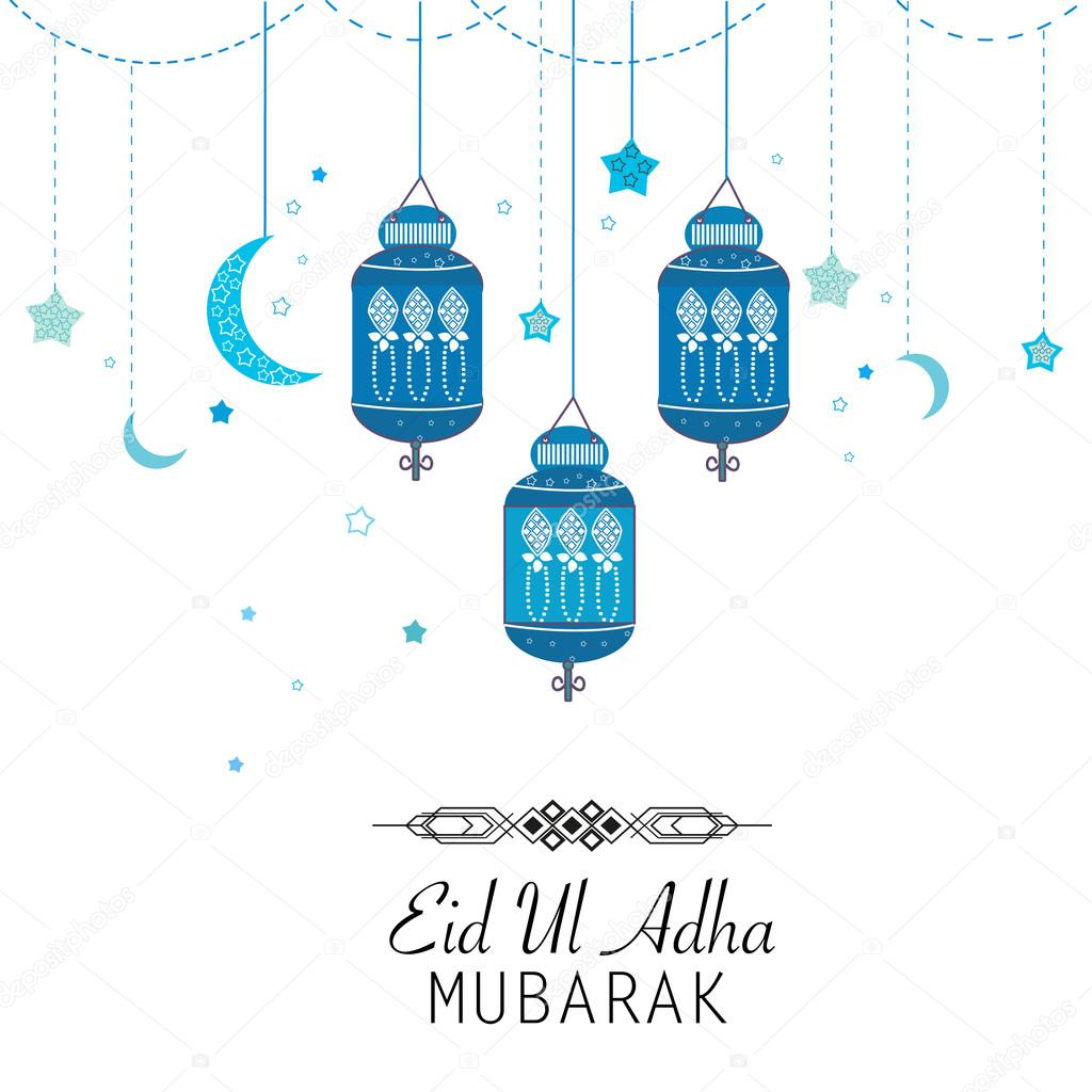 Islamic festival of sacrifice eid al adha celebration greeting card islamic festival of sacrifice eid al adha celebration greeting cardeid al adha mubarak poster hanging blue lantern vector illustratio vector by m4hsunfo