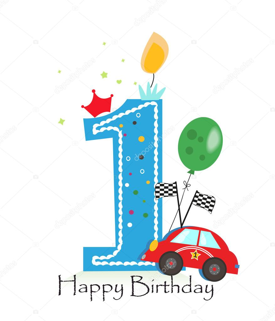 Happy first birthday candle baby boy greeting card with race car happy first birthday candle baby boy greeting card with race car vector illustration stock bookmarktalkfo Choice Image