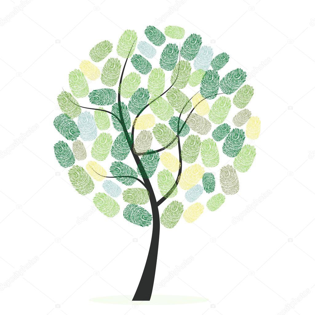 Green tree with finger prints vector illustration