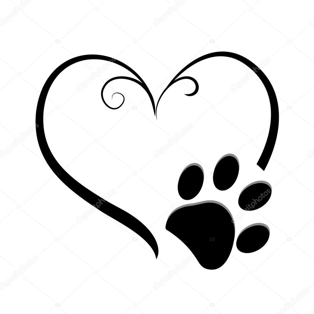 Dog Paw Prints With Heart Symbol Tattoo Design Vector Illustration