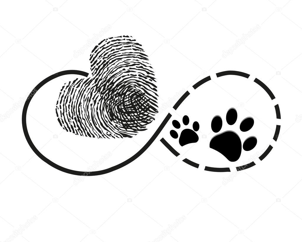 Eternidad Con Pata De Perro Y Corazón Impresión Dedo Imprime
