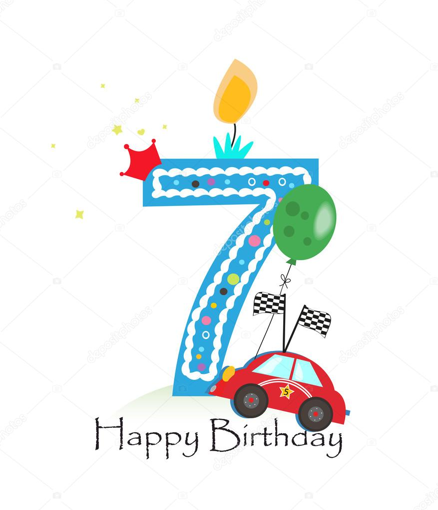Happy Seventh Birthday Candle Baby Boy Greeting Card With Race Car Vector Illustration Stock