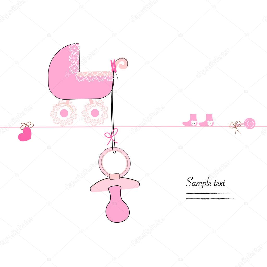 hanging baby girl soother stroller and baby symbols