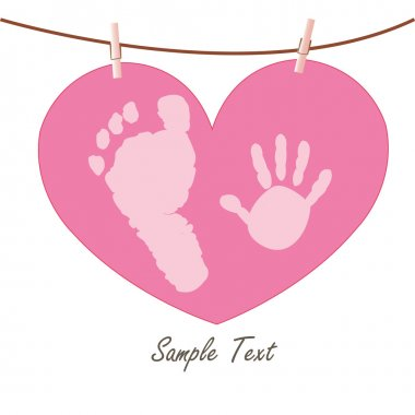 Baby hand and feet prints with heart greeting card vector
