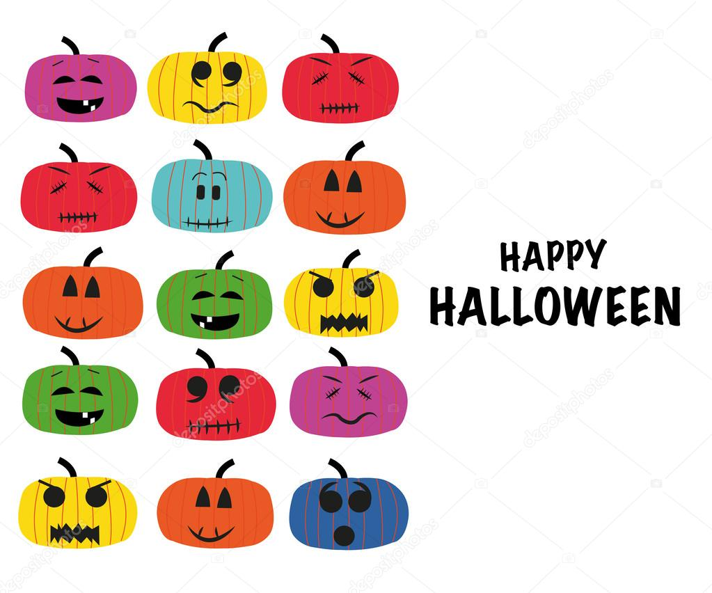 Colorful pumpkins with funny faces greeting card vector