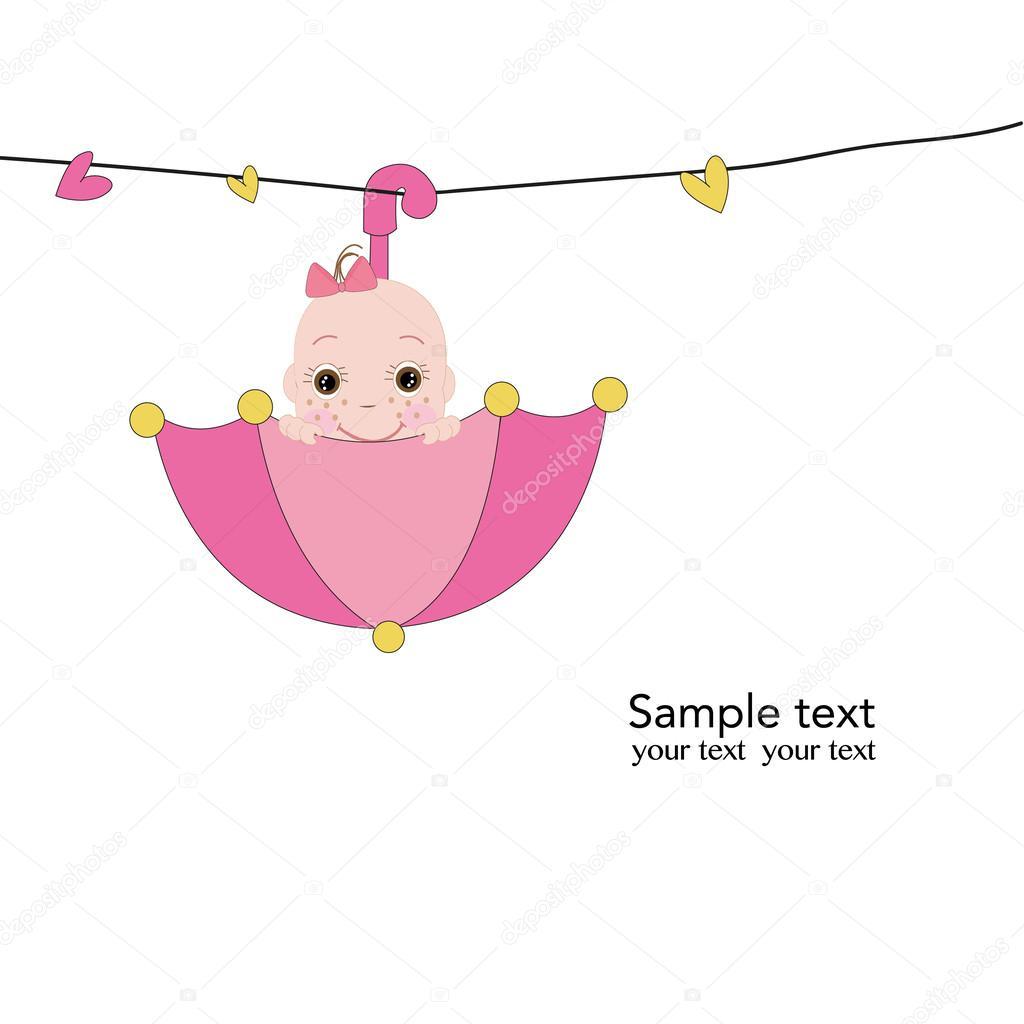 gratulationskort nyfödd pojke Nyfödd baby flicka med rosa paraply gratulationskort vektor  gratulationskort nyfödd pojke