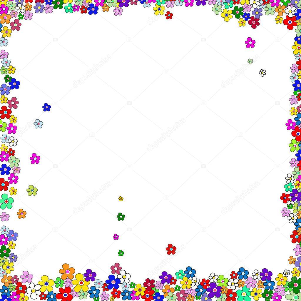 Vector de flores de colores lindo marco — Archivo Imágenes ...