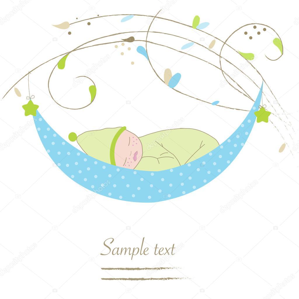 Newborn baby boy cradle greeting card vector stock vector newborn baby boy cradle greeting card vector stock vector m4hsunfo