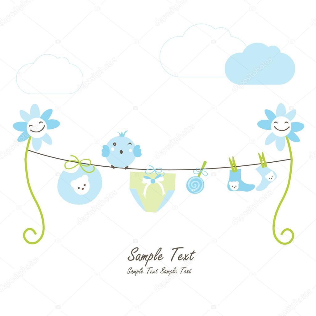 Newborn baby boy, flowers and hanging baby symbols vector