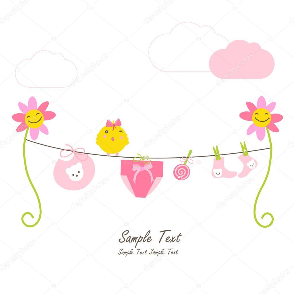 Newborn baby girl, flowers and hanging baby symbols vector