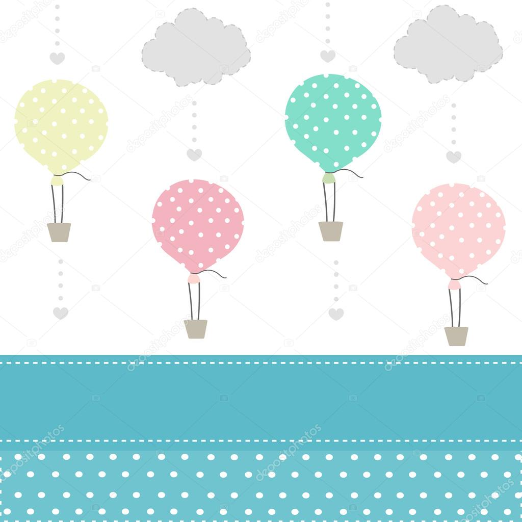 Balloon and clouds baby pattern background vector