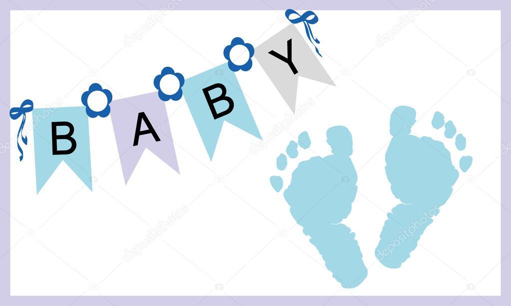 gratulationskort baby Baby boy fötter skriver ut gratulationskort vektor — Stock Vektor  gratulationskort baby