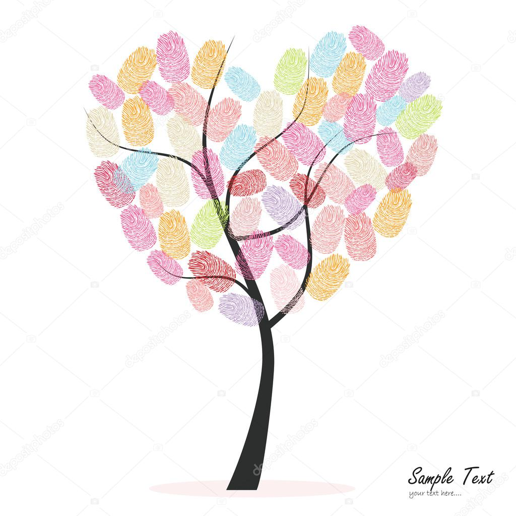 Heart tree with colorful finger prints vector