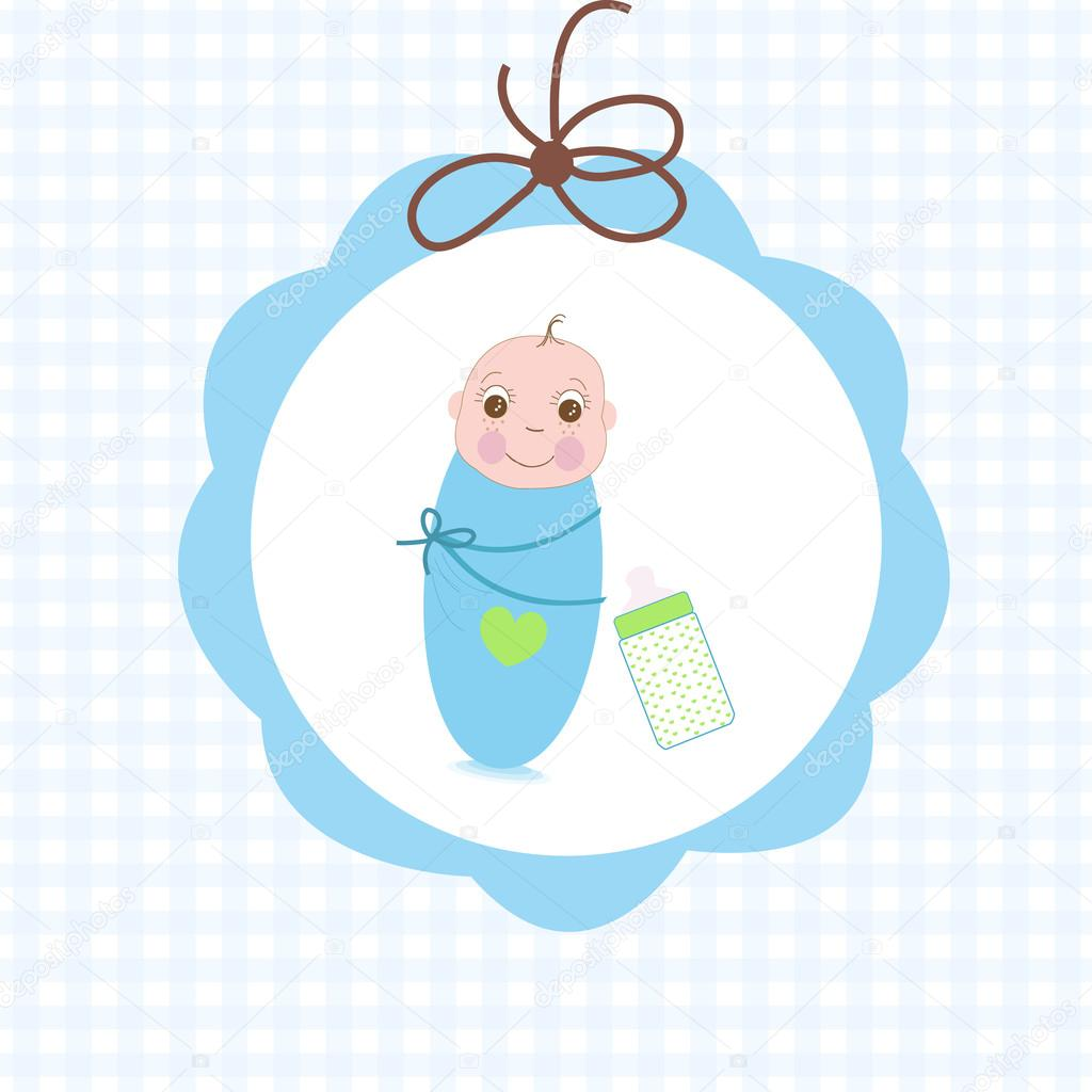 Newborn Swaddle Baby Boy With Bottle Greeting Card Stock Vector