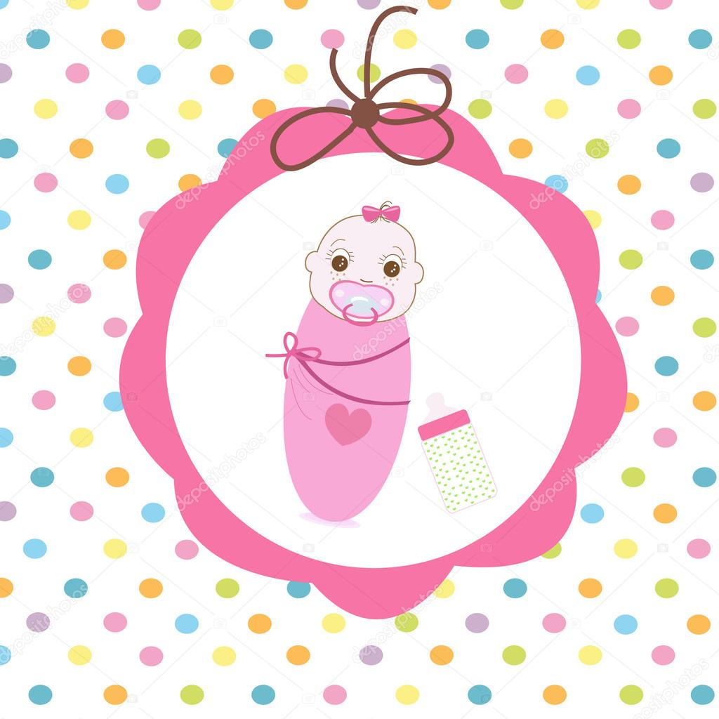 Newborn Swaddle Baby Girl With Bottle Greeting Card Stock Vector