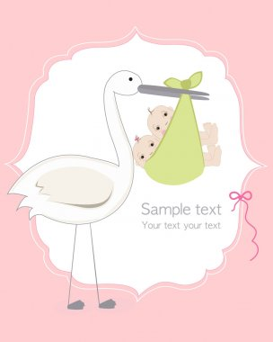 Twin baby girl and boy with stork baby arrival card