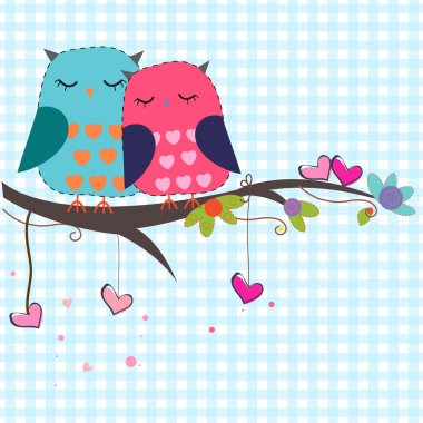 Lovers owls with hearts vector background