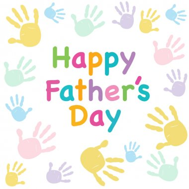 Happy Father's day kids colorful handprint greeting card